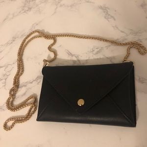 Forever 21 Black Mini Clutch with Gold Chain Strap